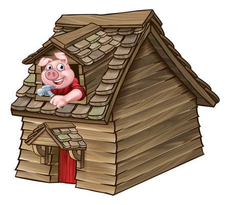 Illustration pour Three Little Pigs Fairy Tale Wood House - image libre de droit