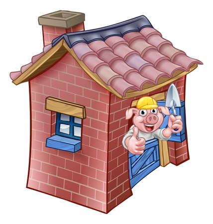 Illustration pour Three Little Pigs Fairy Tale Brick House - image libre de droit