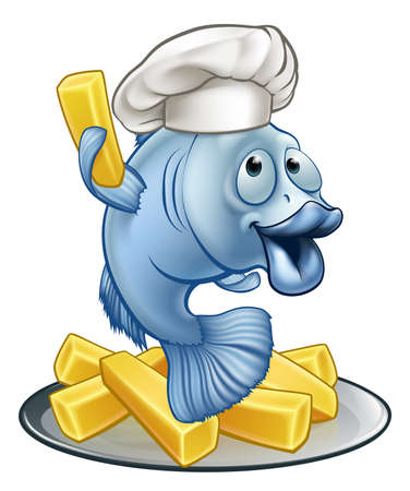 Vektor für Fish and chips illustration. - Lizenzfreies Bild