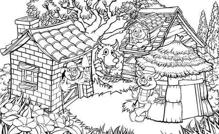 Illustrazione per The three little pigs illustration. - Immagini Royalty Free