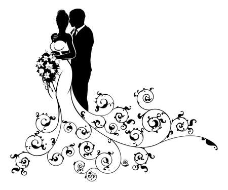 Foto für Bride and Groom Wedding Concept Silhouette - Lizenzfreies Bild