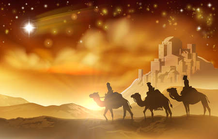 Illustration pour The three wise men magi on their journey following the star of Bethlehem and the city in the background. A nativity Christmas illustration - image libre de droit