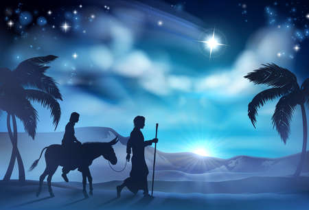 Illustration for Nativity Christmas illustration of Joseph and Virgin Mary riding a donkey on their journey in the desert with the star of Bethlehem in the background - Royalty Free Image