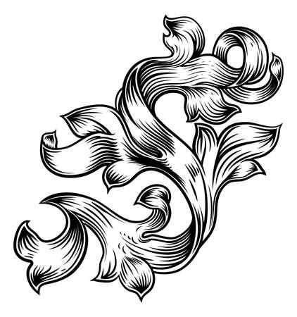 Ilustración de Scroll Floral Filigree Pattern Heraldry Design - Imagen libre de derechos