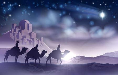 Illustration pour Three Wise Men Nativity Christmas Illustration - image libre de droit
