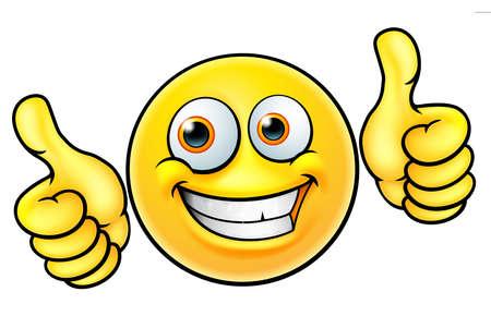 Illustration for Happy thumbs up emoji emoticon on white background. - Royalty Free Image