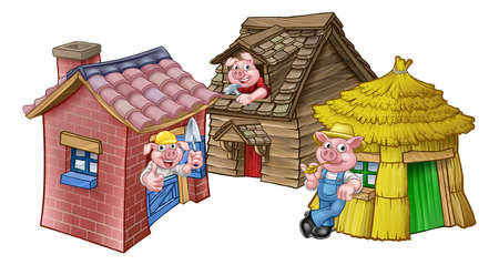Ilustración de The three little pigs fairy tale houses on white background. - Imagen libre de derechos