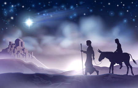 Illustration for Mary and Joseph Nativity Christmas Illustration - Royalty Free Image