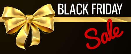 Ilustración de Black Friday Sale Gold Gift Bow Ribbon Design - Imagen libre de derechos