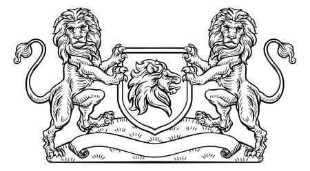 Ilustración de Lion Heraldic Crest Coat of Arms Shield Emblem - Imagen libre de derechos
