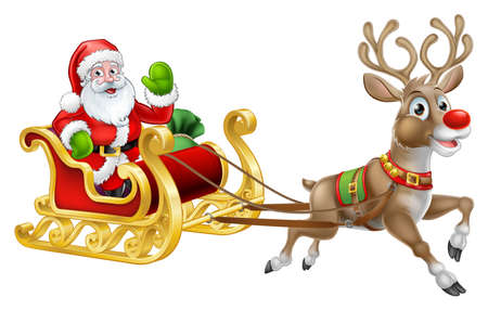 Illustration for Christmas Santa Claus Sleigh Sled Reindeer - Royalty Free Image