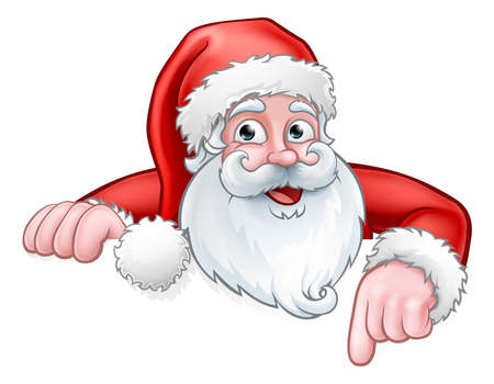 Illustration for Santa Cartoon Pointing Down from Behind Sign - Royalty Free Image