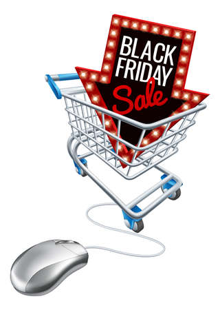 Illustration for Black Friday Sale Online featuring Trolley, Computer, Mouse - Royalty Free Image