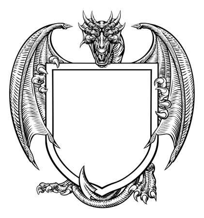 Illustration pour Dragon Crest Coat of Arms Shield Heraldic Emblem - image libre de droit