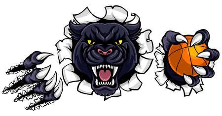 Ilustración de Black Panther Basketball Mascot - Imagen libre de derechos