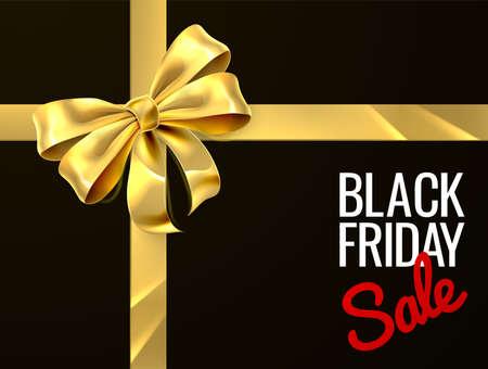 Illustration for Black Friday Sale Gift Bow Ribbon Design - Royalty Free Image