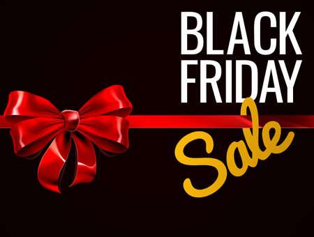Ilustración de Black Friday Sale Red Gift Bow Sign - Imagen libre de derechos
