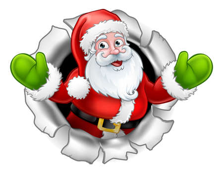 Illustration for Santa Cartoon Tearing Through a Background - Royalty Free Image