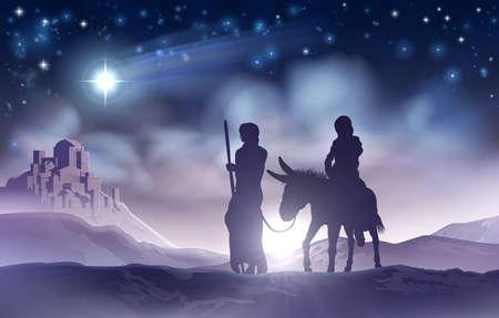 Illustration pour Nativity Christmas Illustration Mary and Joseph - image libre de droit