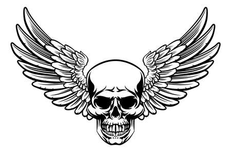 Illustration pour Grim reaper skull with wings drawing - image libre de droit