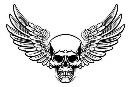 Photo pour Winged Skull Vintage Engraved Woodcut Style - image libre de droit