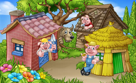 Illustration for The Three Little Pigs Fairytale Scene - Royalty Free Image
