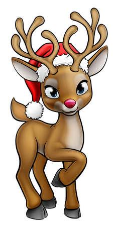 Ilustración de Santa Hat Cartoon Christmas Reindeer - Imagen libre de derechos