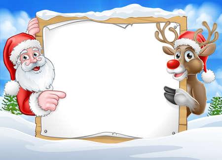 Illustration for Christmas Sign Reindeer and Santa Background - Royalty Free Image