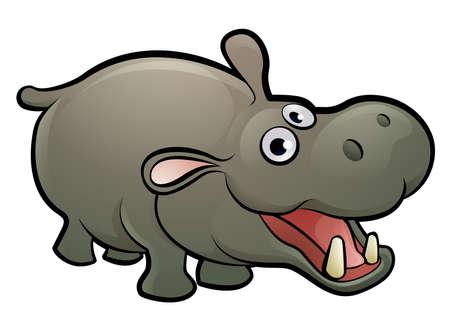 Ilustración de Hippo Animal Cartoon Character - Imagen libre de derechos