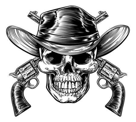 Illustration pour Cowboy Skull and Pistols - image libre de droit