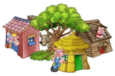 Illustrazione per An illustration from the three little pigs childrens fairytale story, of the 3 pig cartoon characters with their straw, wooden and brick houses and the big bad wolf peeking from behind a tree. - Immagini Royalty Free