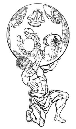 Illustration pour Atlas the titan from Greek mythology holding up the sky represented by star zodiac signs - image libre de droit