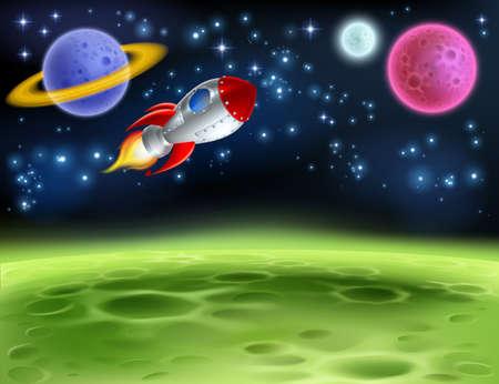 Illustration pour Outer space planet cartoon background illustration. - image libre de droit