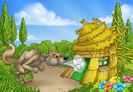 Illustration for Three Little Pigs Big Bad Wolf Blowing Down House - Royalty Free Image