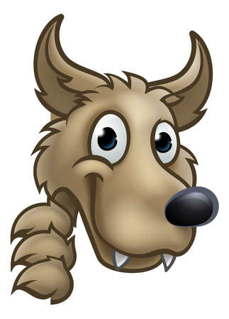 Illustrazione per Wolf cartoon character mascot peeking around sign. - Immagini Royalty Free