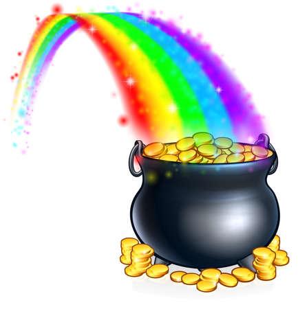 Ilustración de An illustration of a pot of gold coins at the end of a rainbow - Imagen libre de derechos