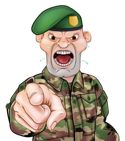 Illustration pour A tough looking pointing soldier cartoon character wearing a green beret - image libre de droit