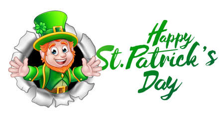 Illustration pour Happy St Patricks Day Leprechaun Cartoon - image libre de droit