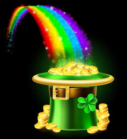 Illustration pour St Patricks Day Leprechaun Rainbow Hat of Gold - image libre de droit