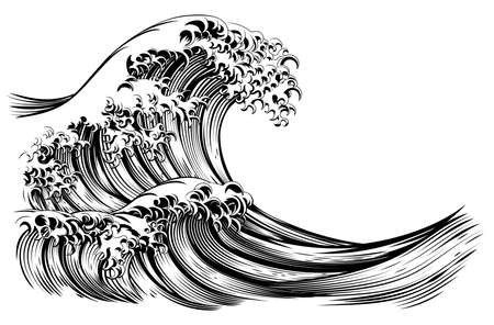 Illustration for Great Wave Japanese Style Engraving - Royalty Free Image