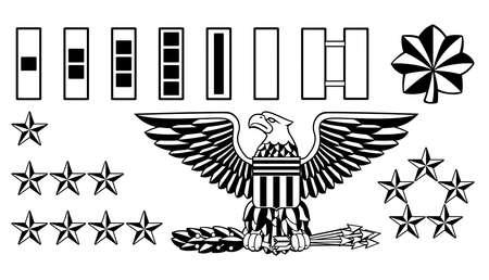 Ilustración de Military Army Officer Rank Insignia Vector illustration. - Imagen libre de derechos