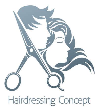 Photo pour Hairdressing concept logo vector illustration - image libre de droit