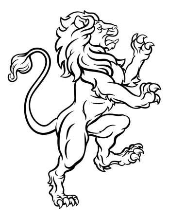 Ilustración de Lion Standing Rampant Heraldic Crest - Imagen libre de derechos