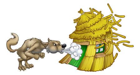 Illustration pour Three Little Pigs Big Bad Wolf Blowing Straw House - image libre de droit