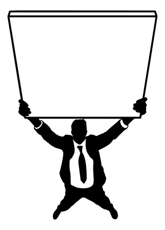 Illustration pour Silhouette of businessman holding empty sign isolated on a white background - image libre de droit