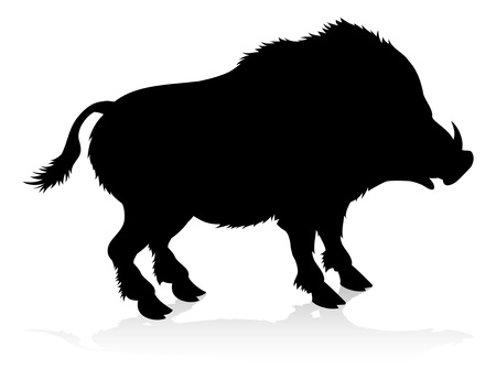 Illustration for Boar Warthog Animal Silhouette - Royalty Free Image