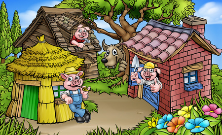 Illustration pour A cartoon scene from the three little pigs childrens fairytale story. The 3 pig characters with their straw, wood and brick houses and the big bad wolf peeking from behind a tree. - image libre de droit