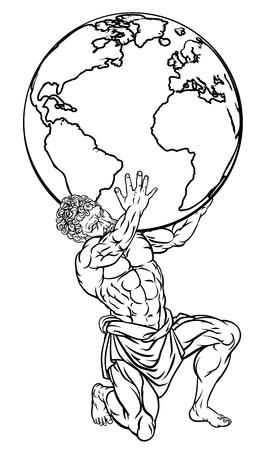 Illustration pour Atlas Mythology Illustration - image libre de droit