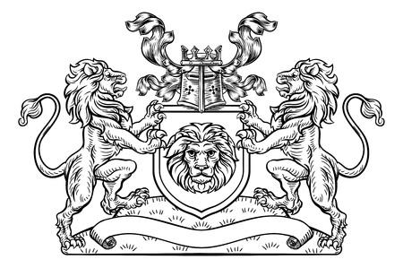 Ilustración de Shield Crest Lion Heraldic Coat of Arms Emblem - Imagen libre de derechos