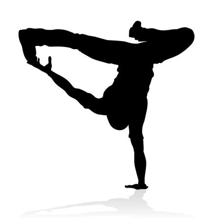 Illustration pour A male street dance hip hop dancer in silhouette - image libre de droit